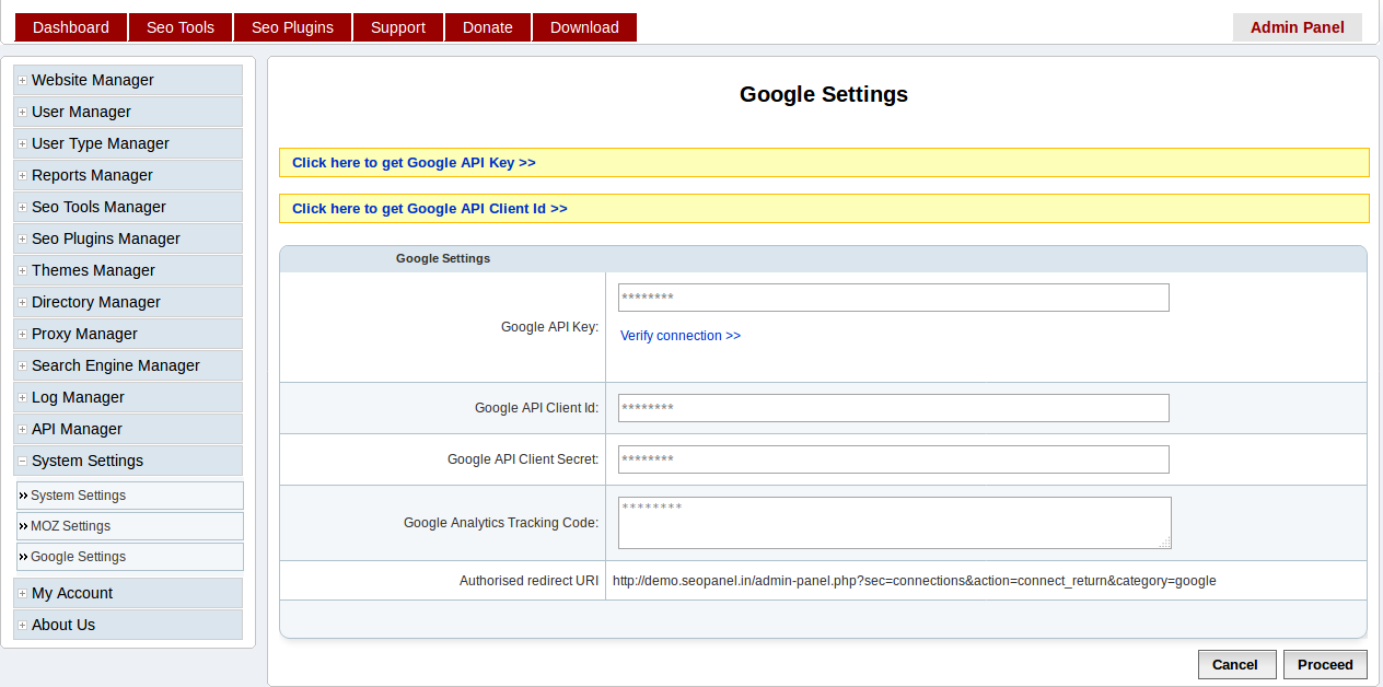 Settings — Seo Panel Docs 3 15 0 documentation