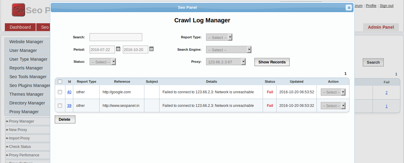 Proxy Manager for SEO panel with import, perfomaance reports